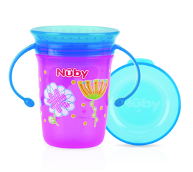 Nuby 360° Wonder cup with handles - PINK- 240ml - 6m+ ID10410PINK